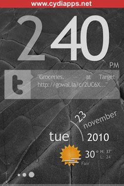 Cydia theme for iPhone Sublime lock HD
